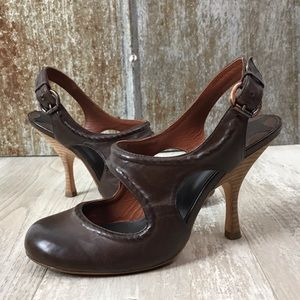 Mac Studio Brown Leather Mary Jane Slingback Heel